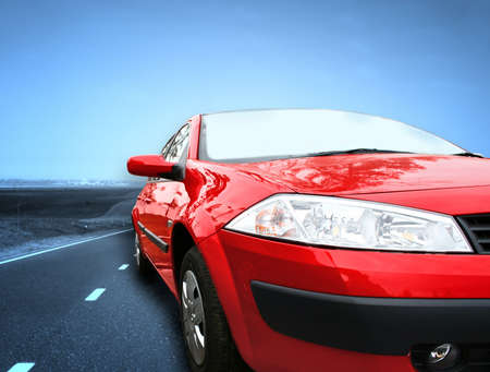 Beautiful red car on the road. Great shoot. Great details