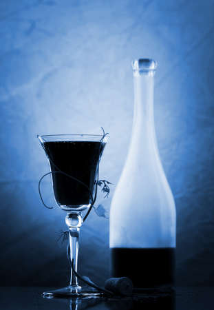 red wine glass and bottle Stock Photo - 3954768
