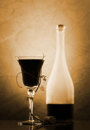 red wine glass and bottle Stock Photo - 3954793