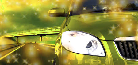 patch of light: Green car on the road Stock Photo
