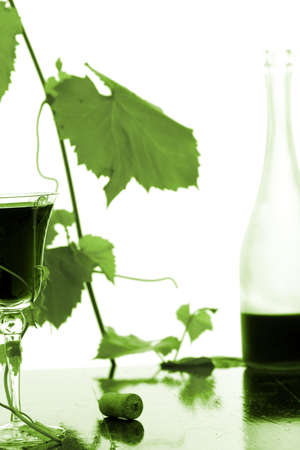 red wine glass and bottle isolated on white Stock Photo - 3957545