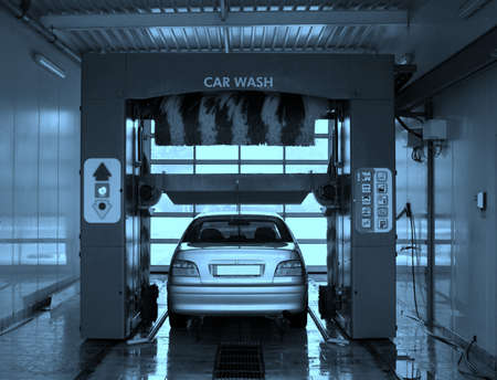 Automobile going through the car wash.