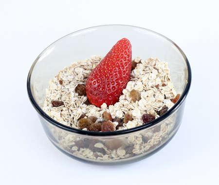 musli: Bowl full of musli and fresh fruits . Stock Photo
