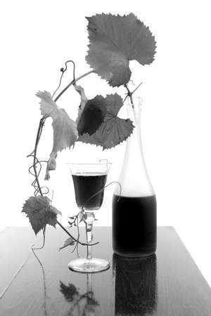 red wine glass and bottle isolated on white Stock Photo - 4019153