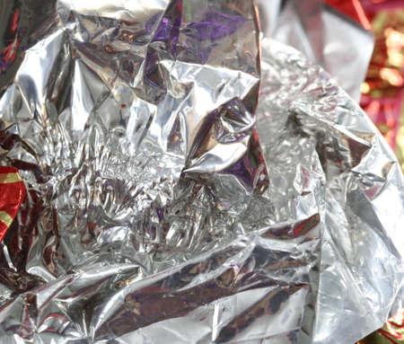 junky: Close-up picture of candy wrapper Stock Photo