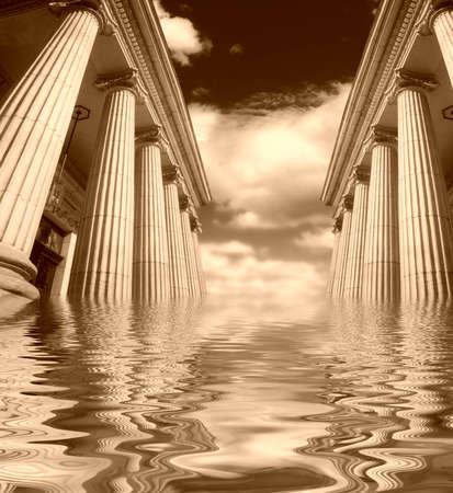 academia: Picture of large greek freestone columns .