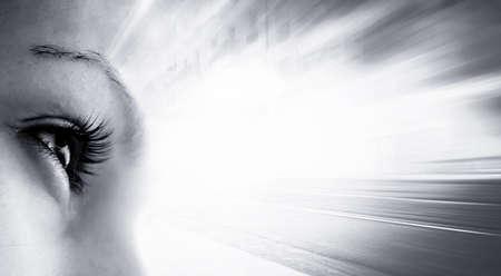 hypnotise: Womens eye - looking forward. Isolated on white.