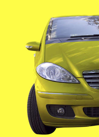 Yellow car isolated on yellow. Stock Photo - 4325791