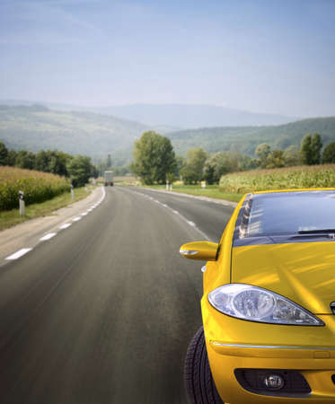 rent a car: Fast car on the road.