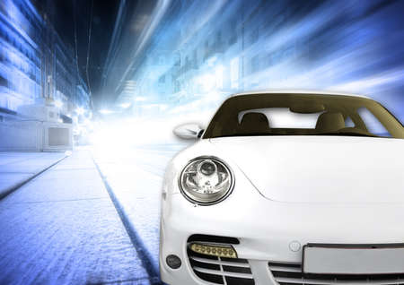 Very fast and beautiful car on the road ! Stock Photo