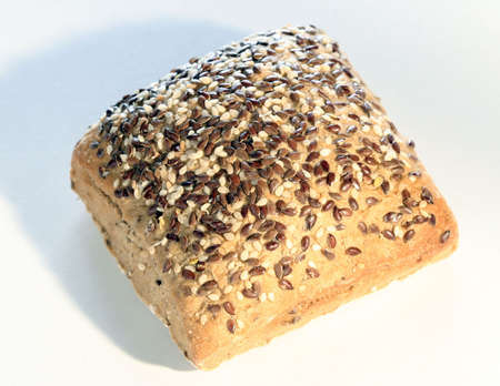 pone: Baked bread with seeds isolated.