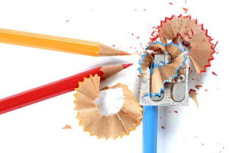 Close-up of pencils and sharpener. photo