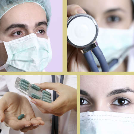 Professional young doctors at work. Collage. Stock Photo - 5194600