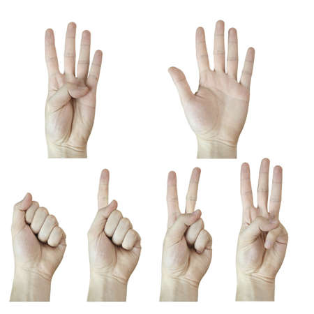 numbering: A man hand numbering. Isolated on white. Stock Photo