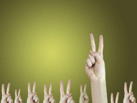 dissimilar: Hand sign. Answer concept. Good quality. Stock Photo