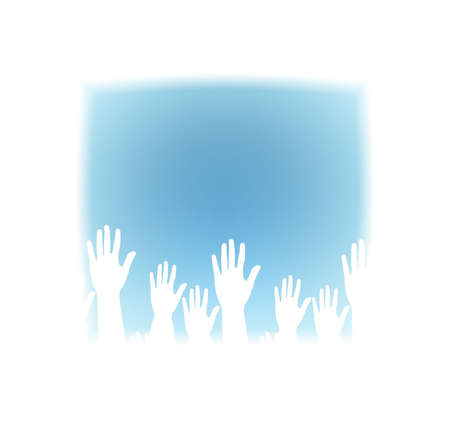 divergent: Lots of hands up, at a party. Isolated Stock Photo