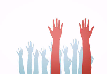 Lots of hands up, at a party. Isolated Stock Photo - 5795182