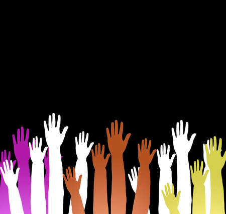 Lots of hands up, at a party. Isolated Stock Photo - 6110107