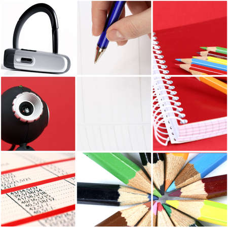 tehnology: Tehnology collage: pencils, web camera, calendar, bluetooth