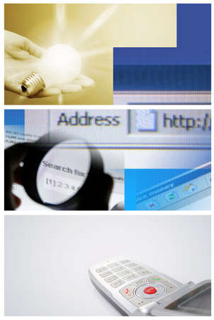Tehnology collage: light bulb, cell phone and internet page. photo