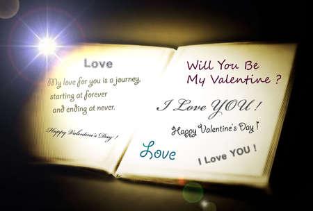 affetto: Messaggio di amore in un libro bianco. Archivio Fotografico