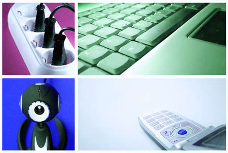 tehnology: Tehnology collage: light bulb ,cell phone, outlet, web camera and keyboard.