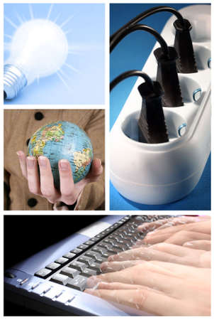 tehnology: Tehnology collage: light bulb, keyboard,  outlet and world globe. Stock Photo