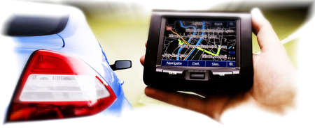 locating: Gps in a man hand. Find your way ! Stock Photo