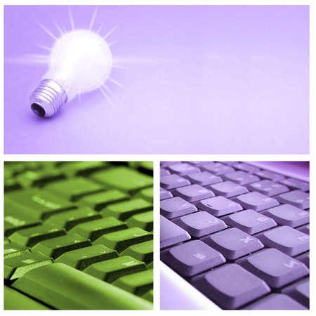 tehnology: Tehnology collage: light bulb, keyboard,  cell phone.