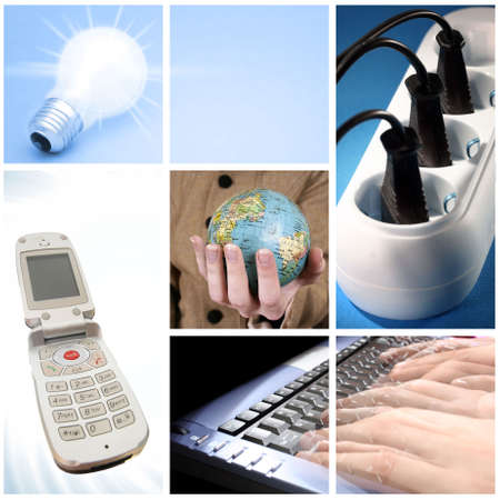 Tehnology collage: light bulb, keyboard, outlet,  cell phone and world globe. photo