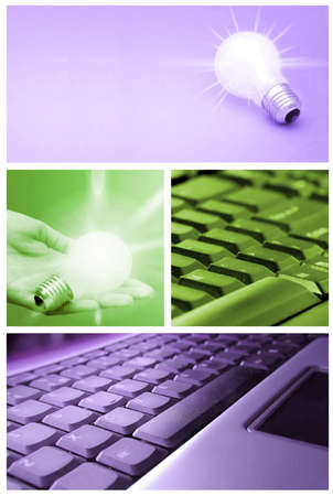 thin bulb: Tehnology collage: light bulb and keyboard. Stock Photo