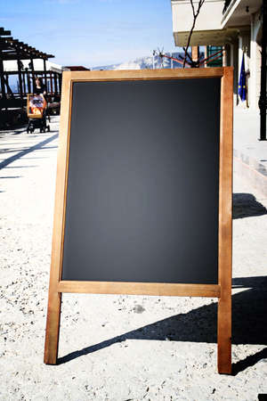 Restaurant menu chalkboard on the street