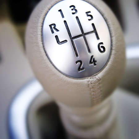 lever: Close-up of a car gear lever.