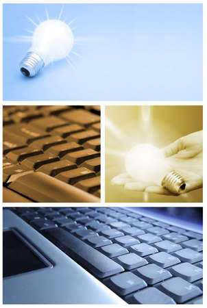 Tehnology collage: light bulb and keyboard. photo