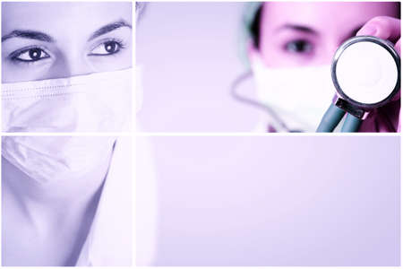 surgeron: Female doctor with mask and stethoscope.