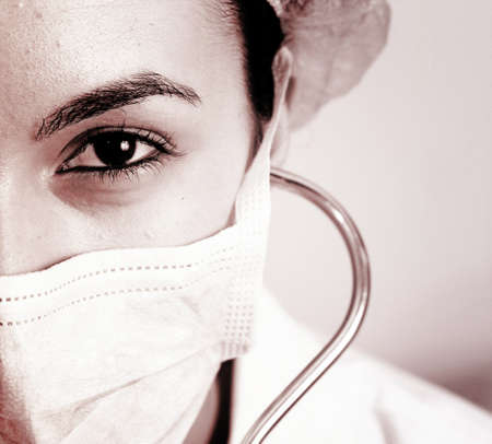 hospital stress: Professional young doctor at work. Close up. Stock Photo