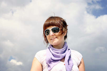glases: Beautiful woman with white glases.