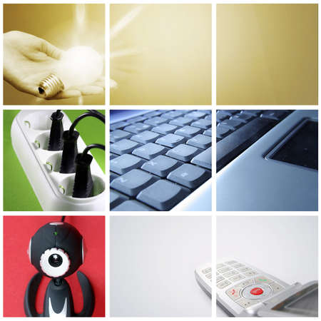 Tehnology collage: light bulb ,cell phone, outlet, web camera and keyboard. photo
