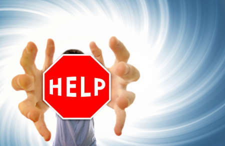 get in shape: Man grabing a help sign.Distortion effect   Stock Photo