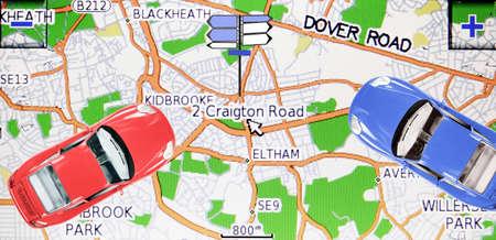 gps navigation: Imagen de macro de un sistema de navegaci�n GPS veh�culo
