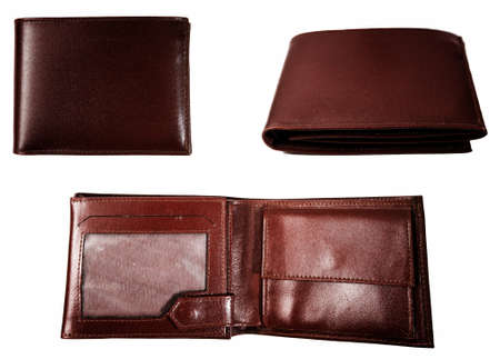 Brown  leather wallet isolated on white photo