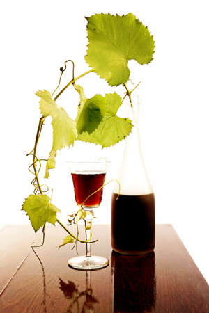 red wine glass and bottle isolated on white Stock Photo - 8002852