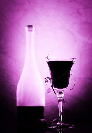 red wine glass and bottle Stock Photo - 8002324