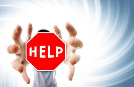 grabing: Man grabing a help sign.Distortion effect   Stock Photo