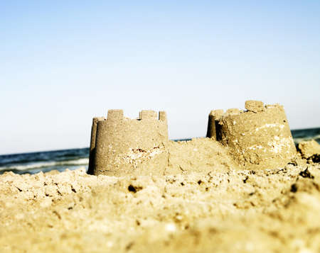 turrets: Sand castle on the beach.