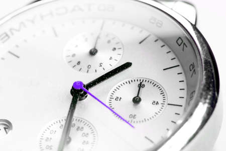 tachymeter: Beautiful Man watch with white background. Close up photo. Stock Photo