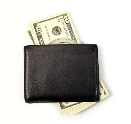 bolsa dinero: Cartera de cuero negro aislado en blanco