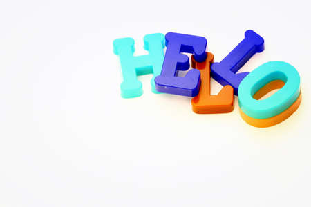 hey: Close-up of letters. Hello word. Stock Photo