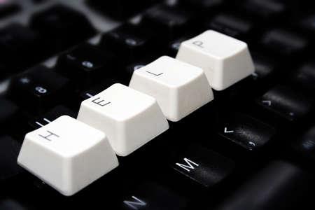 Black Keyboard, blurred, with white keys - HELP Stock Photo - 8568212