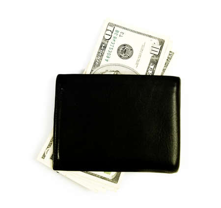 Black leather wallet isolated on white photo